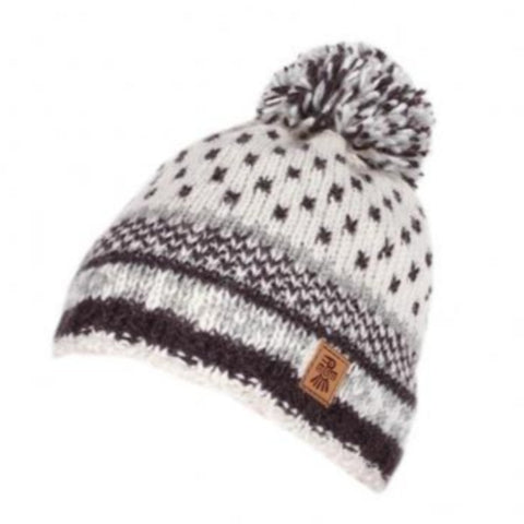 Mens bobble beanie hat white and navy