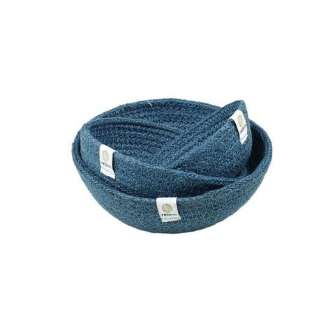 Set of 3 jute baskets in blue
