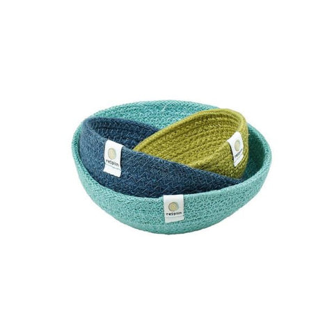 Set of 3 mini jute baskets green blue teal