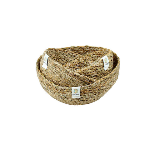 Set of 3 mini jute baskets natural