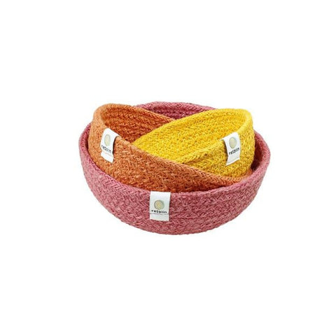 set of 3 baskets in yellow orange and pink