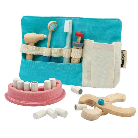 Wooden play dentist set, teeth and bag