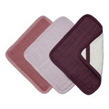 3 pack of organic cotton washcloths in berry colours.