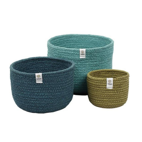 Set of 3 Tall jute baskets Ocean