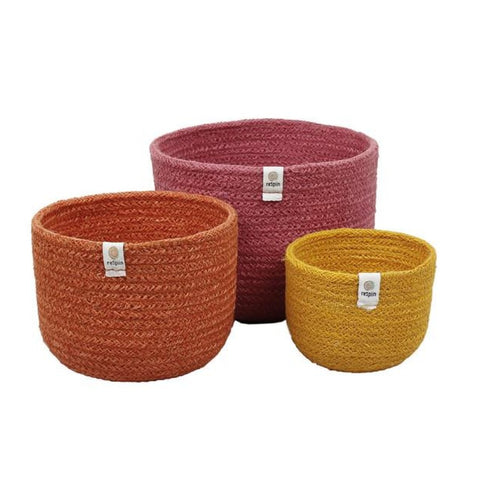 Set of 3 tall jute baskets Fire colours