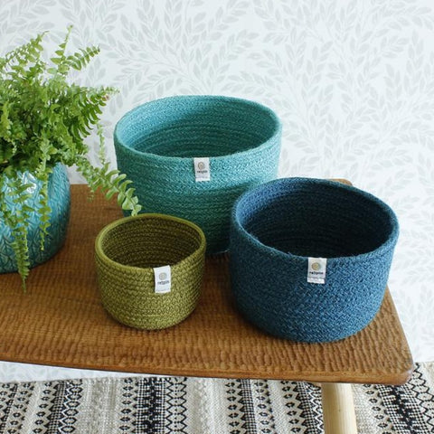 Jute Tall Basket Set - Ocean