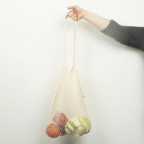 Organic cotton long handled shopping bag