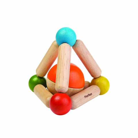 Wooden triangle toy with ball in the middle