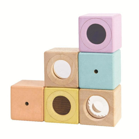 6 sensory blocks in pastel colours