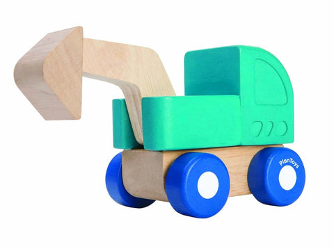 Wooden mini excavator toy in blue and natural.