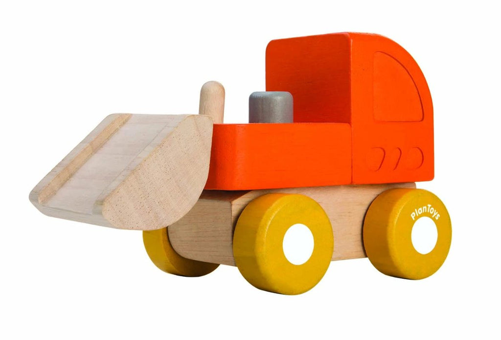 Wooden mini bulldozer toy in orange yellow and natural