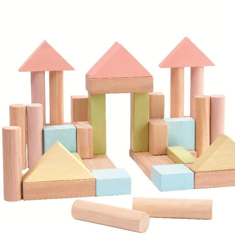 Set of pastel coloured building blocks