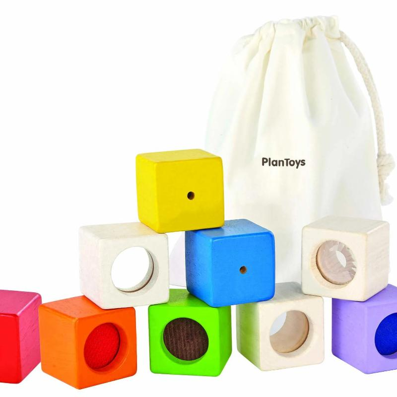 9 x rainbow coloured sensory blocks