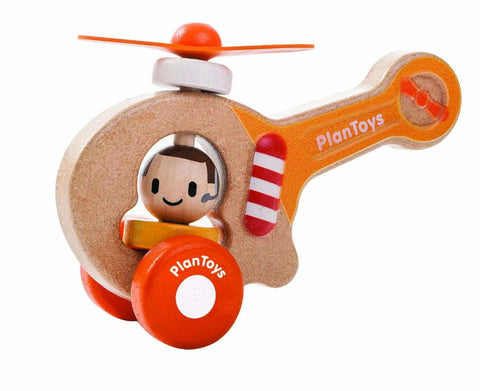 Wooden helicopter with pilot