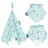 A collection of light blueish baby bibs and a comforter
