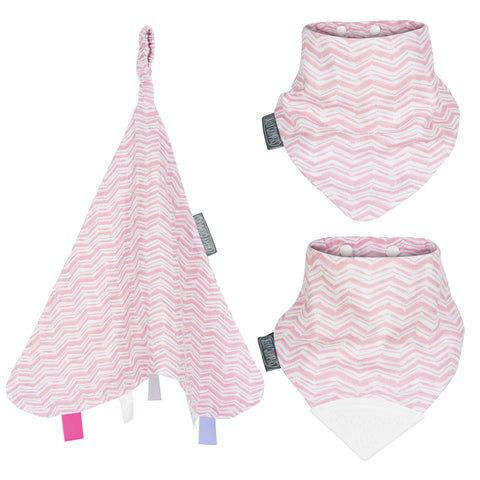 Two pink bibs and and a pink baby comforter