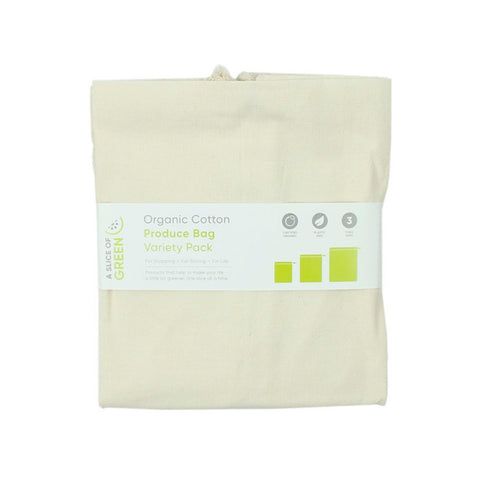3 pk organic cotton produce bags