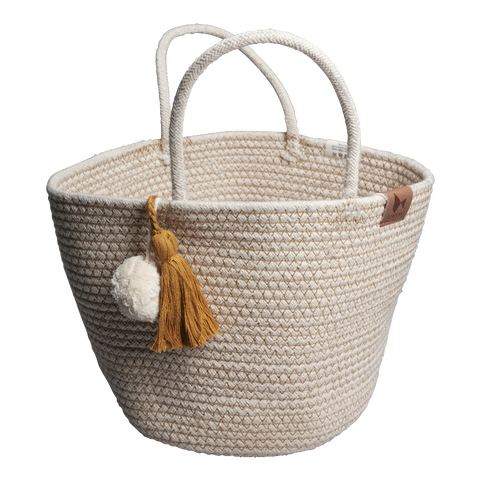 Rope storage basket with tassel detail in Ochre colour