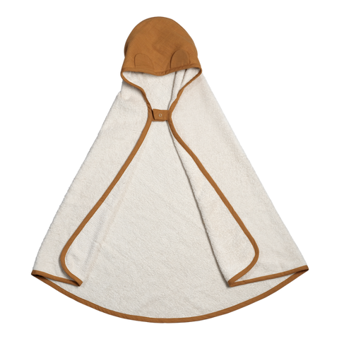 Hooded Towel with little ears in Ochre colour