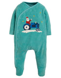 Topaz blue babygrow with santa on a tractor picture on the front