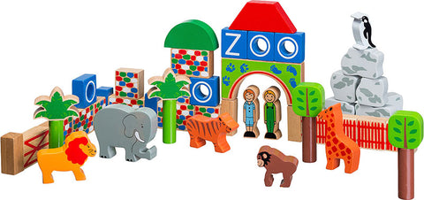 Multi coloured zoo scene with wooden animals, trees and zoo buildings