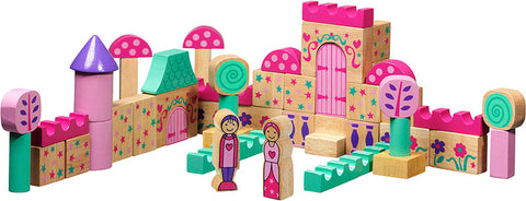A set of wooden blocks in a fairytale style.