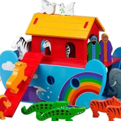 Wooden Noah's Ark with animals painted in bright colours