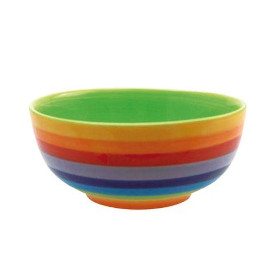 Cereal bowl painted in rainbow design with green inner.