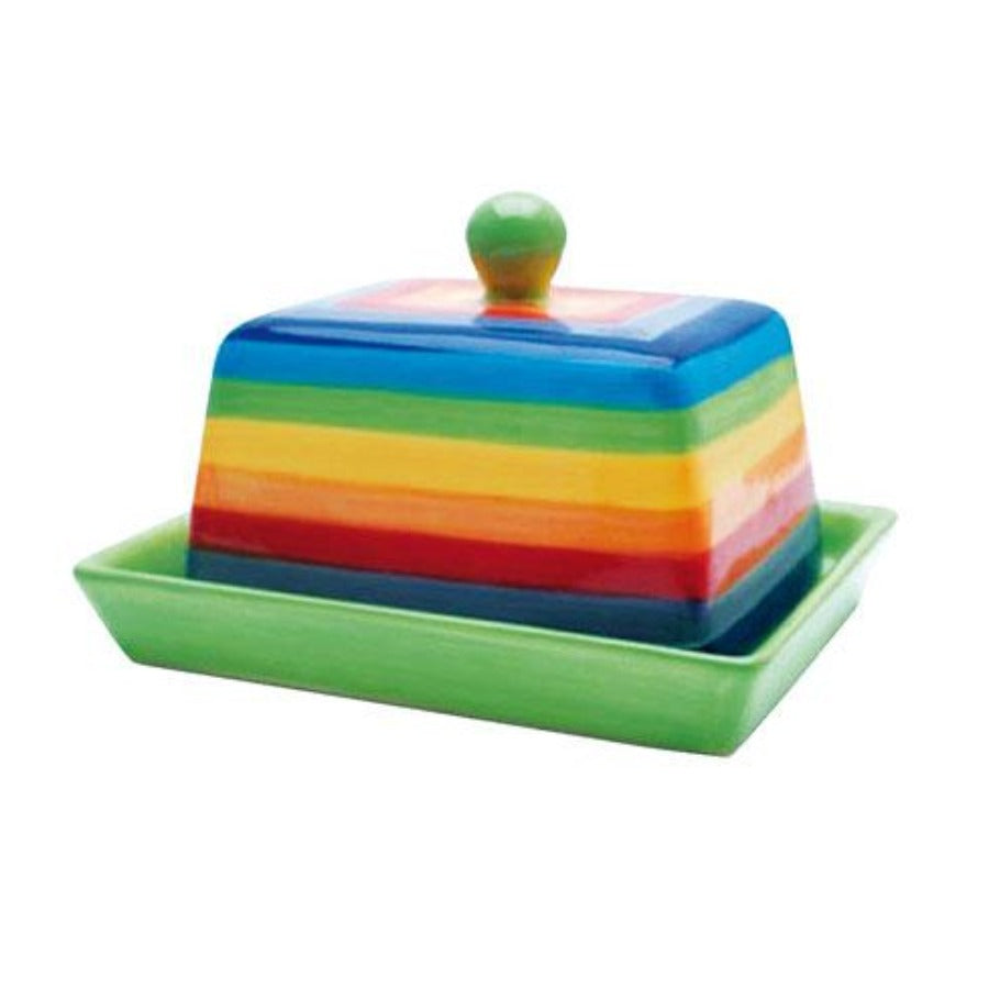 Butter dish painted in rainbow stripes with green bottom