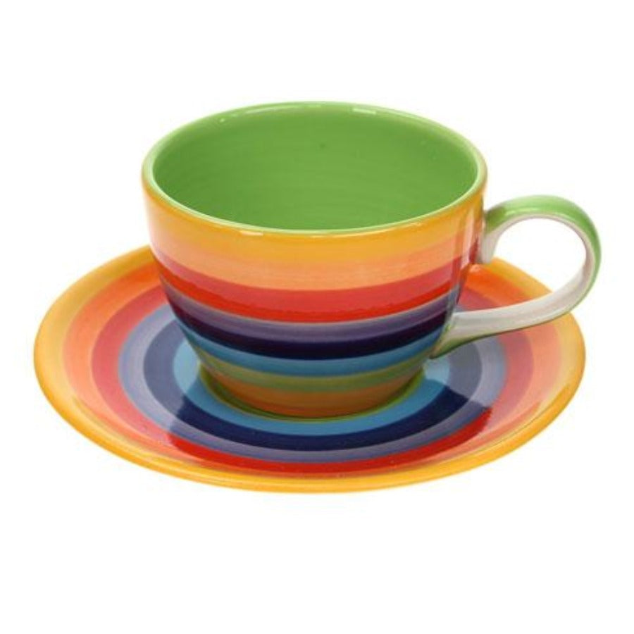 Coffee cup & saucer in rainbow painted design with green inner