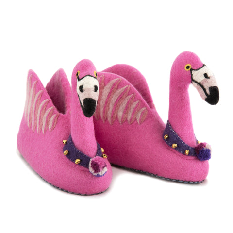 A pair of pink flamingo shaped slippers