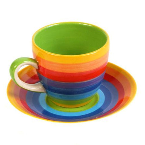 Rainbow Espresso cup and saucer in a rainbow design, inside of cup is green
