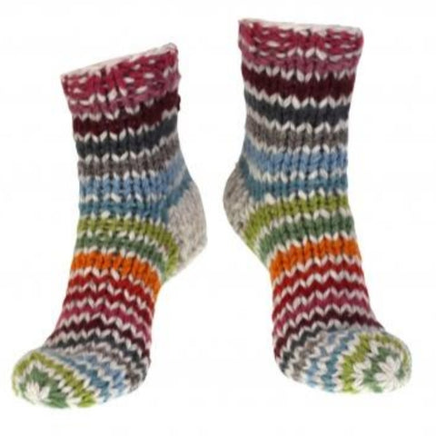 Mulit coloured stripe sofa socks