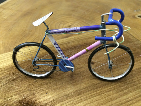 Small bike ornament made from recycled cans