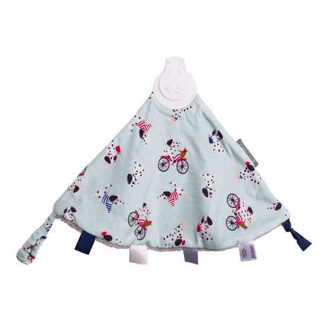 Pups on bikes, baby's teething blanket with loop and tags