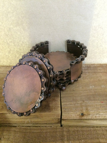 Bike chain and Iron coasters in a holder