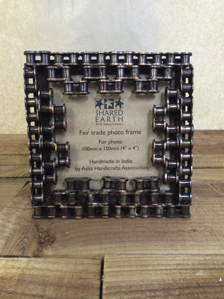 Recycled Bike Chain Square Photo Frame