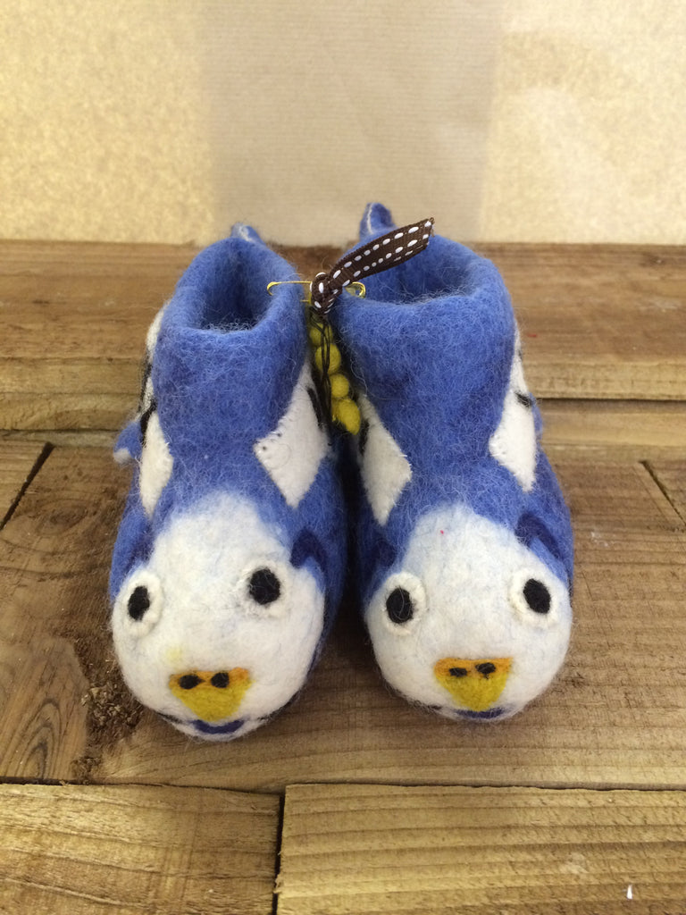 Blue and White, budgie felted slippers