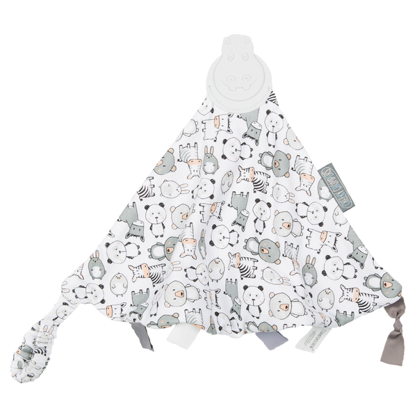 A triangle blanket with teether on one end, tags and a fluffy back. Grey white with panda print