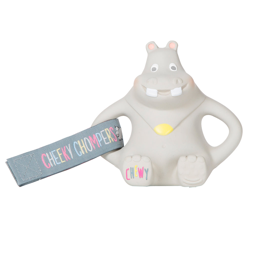 Grey Hippo baby's toy with a fabric strap attached