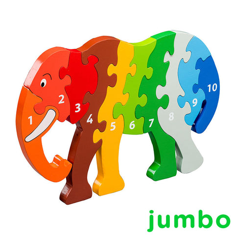 A jumbo rainbow coloured elephant jigsaw with numbers 1-10