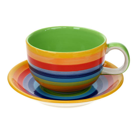 Large teacup and saucer in rainbow stripe design