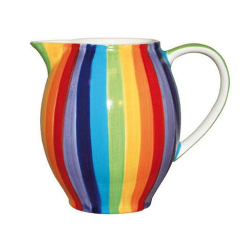 Large jug with rainbow striped pattern