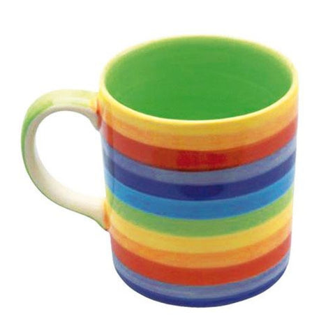 Rainbow Painted mug with green inner