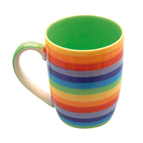 Horizontal striped rainbow mug with green inner