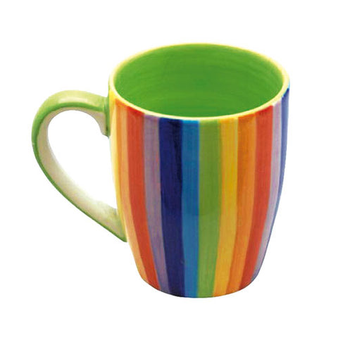 Vertical striped rainbow mug with green inner.
