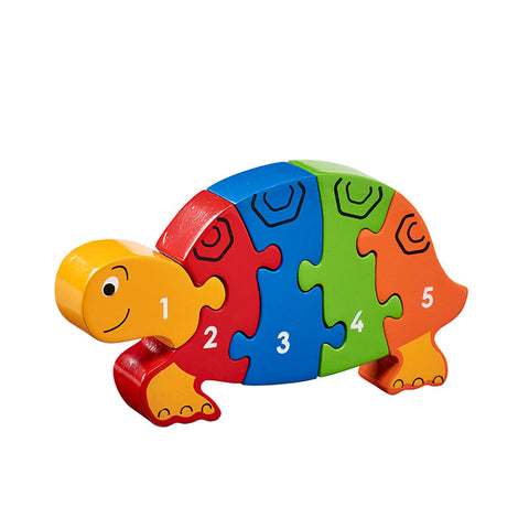 Bright coloured tortoise shaped jigsaw with numbers 1-5 printed on.