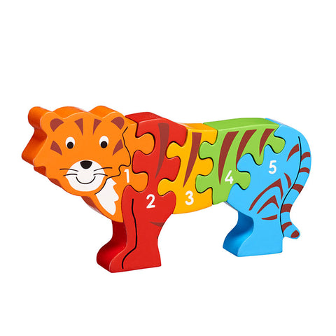 Tiger shaped jigsaw painted in bright colours with numbers 1-5 on