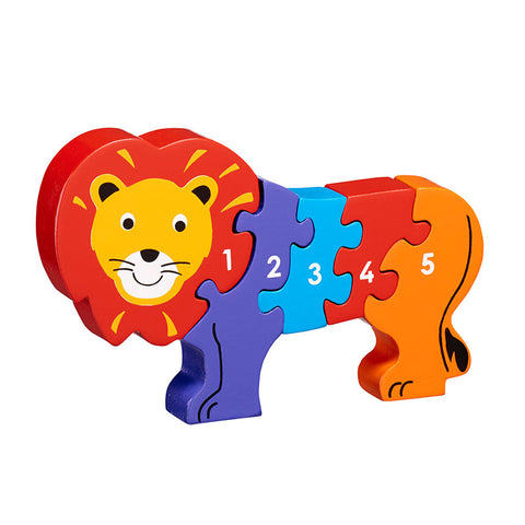 Lion jigsaw wooden - painted in bright colours