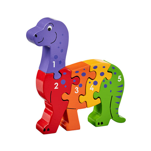 Dinosaur shaped wooden jigsaw 1-5
